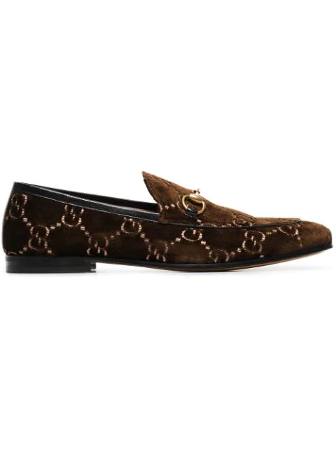 Gucci New Jordaan Horsebit Leather-Trimmed Logo-Embroidered Velvet Loafers In Brown