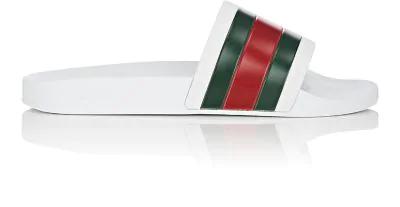 Gucci Pursuit '72 Rubber Slide Sandals - White, Grn, Red