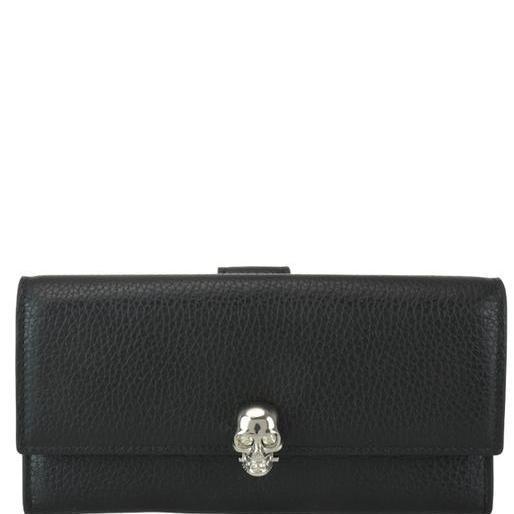Alexander Mcqueen Skull Continental Wallet In Black