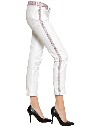Isabel Marant Embroidered Cotton Denim Jeans In White