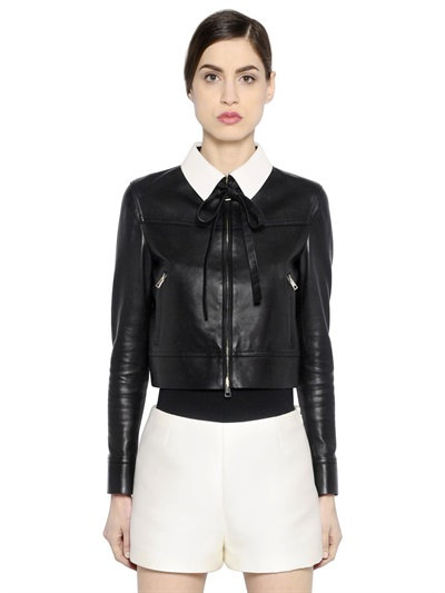 Valentino Contrasting Collar Nappa Leather Jacket In Black/White