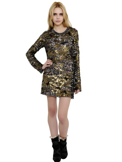 Isabel Marant Sequin Embellished Silk Chiffon Dress In Gold