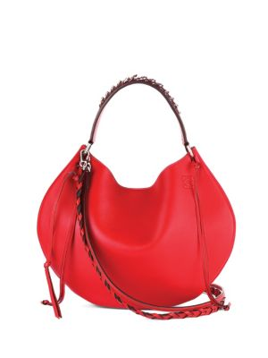 Loewe Fortune Leather Hobo Bag In Primary Red