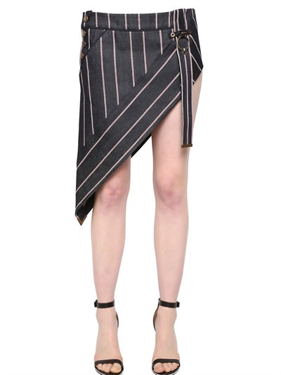 Anthony Vaccarello Striped Asymmetrical Denim Mini Skirt In Blue/Red