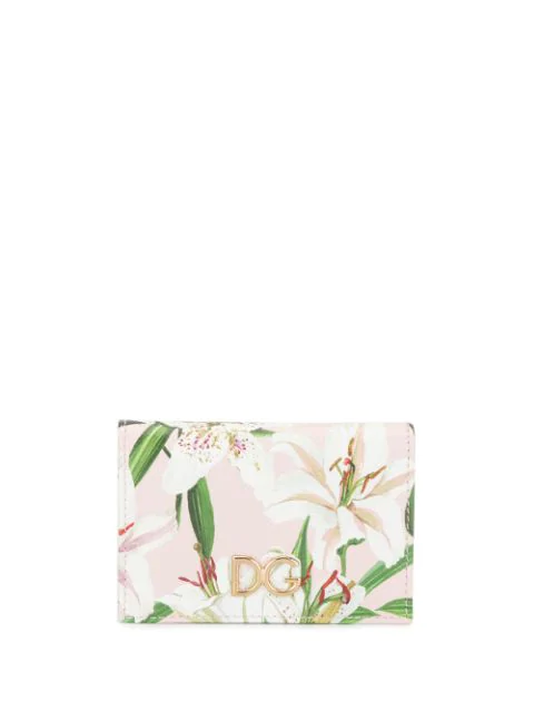 Dolce & Gabbana Lily Print Cardholder In Pink