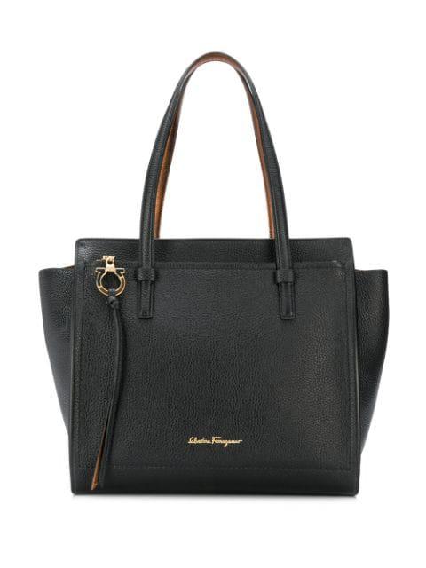 Salvatore Ferragamo Logo Plaque Tote Bag In Black