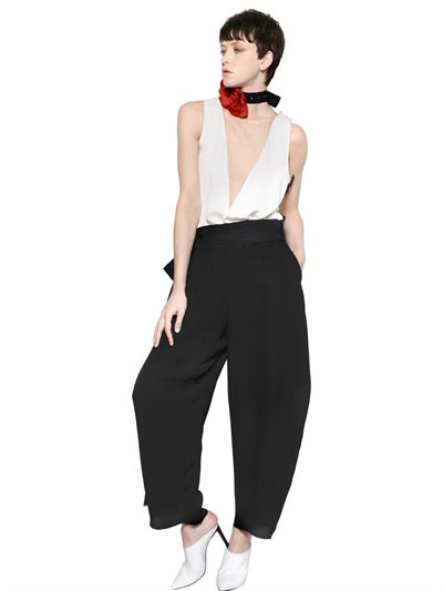 Lanvin Sleeveless Viscose Crepe Jumpsuit In White/Black