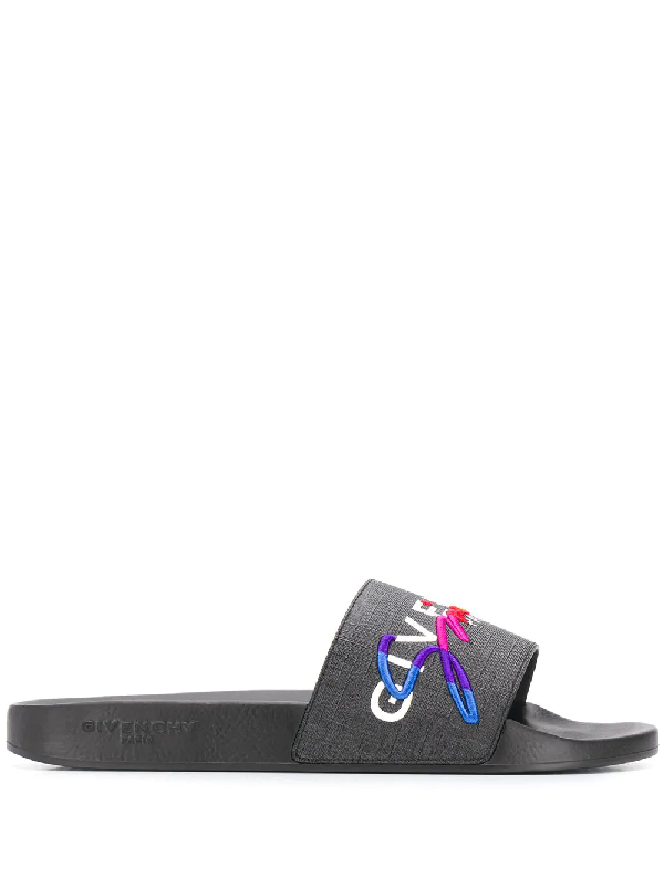 Givenchy Printed Rubber And Canvas Slides In Black