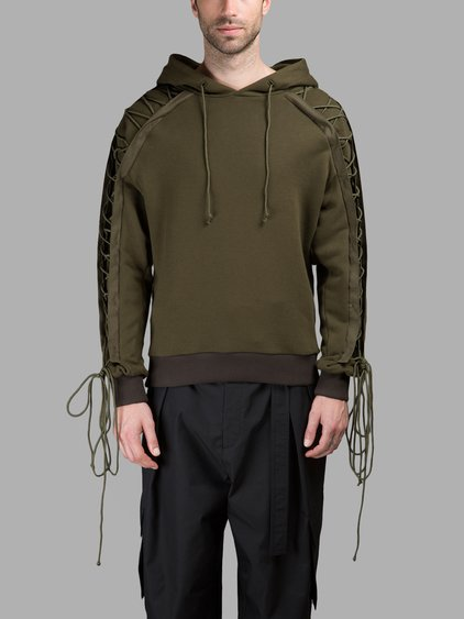 Juun.j Embroidered Drawstring Detail Hoodie In Green