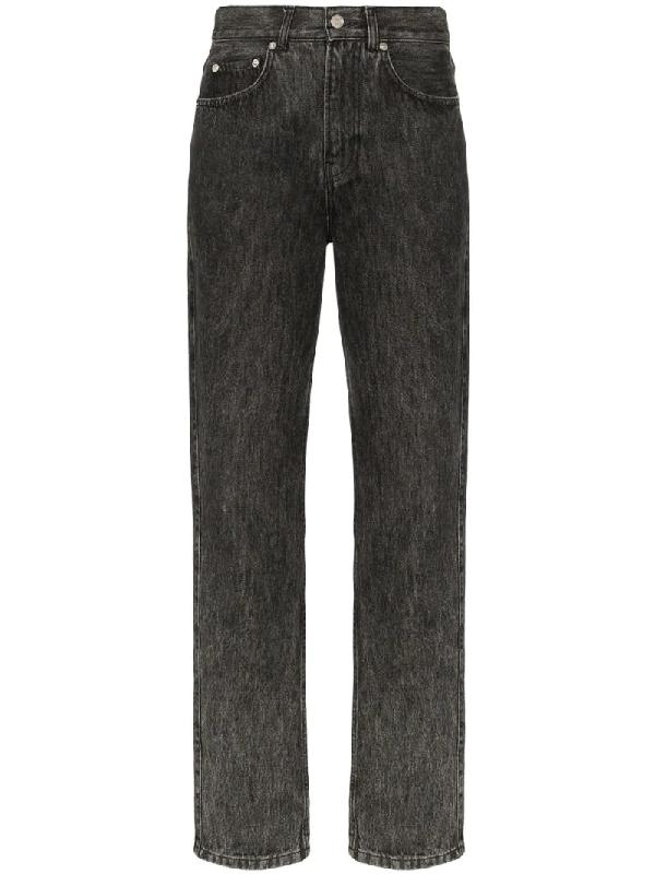 Ganni Acid-wash Mid-rise Straight-leg Jeans In Gray