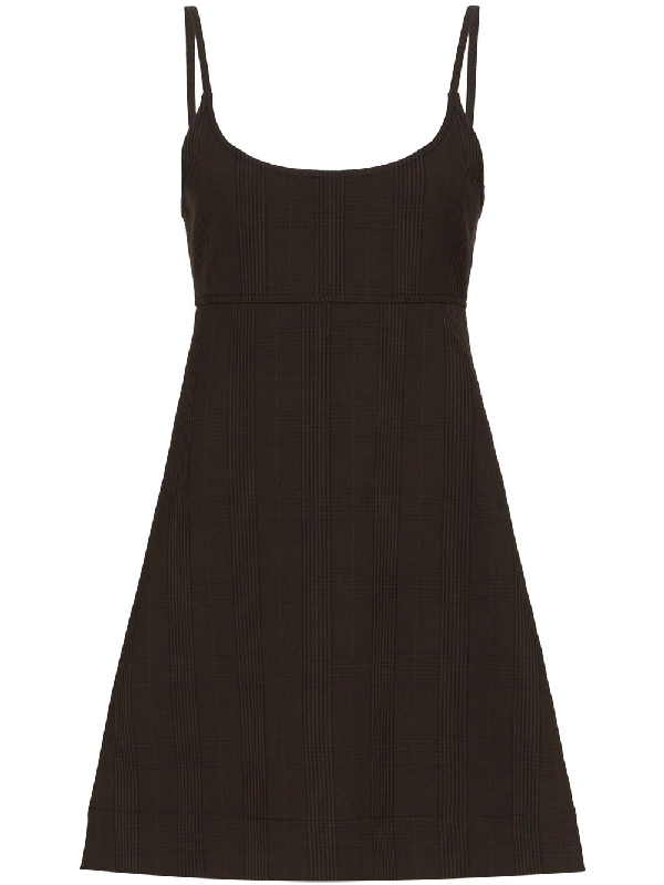 Ganni Checked Stretch-knit Mini Dress In Brown