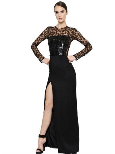 Alexander Mcqueen Sequin Embellished Crepe Satin Dress In Black