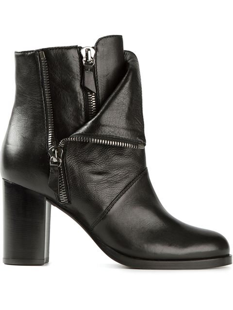 Casadei Layered Zipped Boots In Black