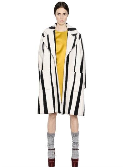 Rochas Striped Blend Wool Coat In Black/White