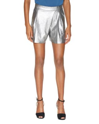 Halston Heritage Mid-rise Metallic Suede Shorts, Metallic Graphite