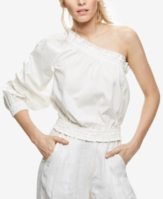 Free People Anabelle Cotton One-shoulder Top In Ivory