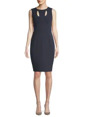 Milly Cressida Sleeveless Stretch-crepe Dress W/ Cutouts, Navy