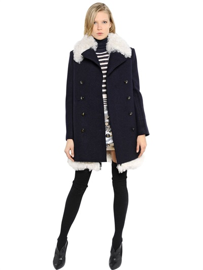 Sonia Rykiel Shearling & Boiled Wool Coat In Navy/White