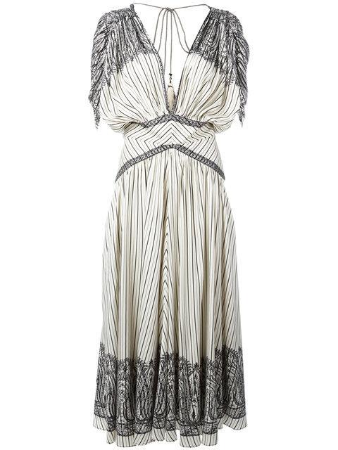 Etro Jasmin Fan-pleated Midi Dress, Multi In White