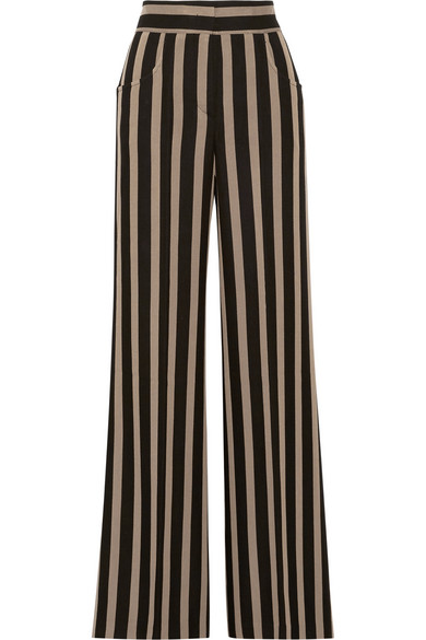 Etro Striped Grain De Poudre Wide-leg Pants In Black