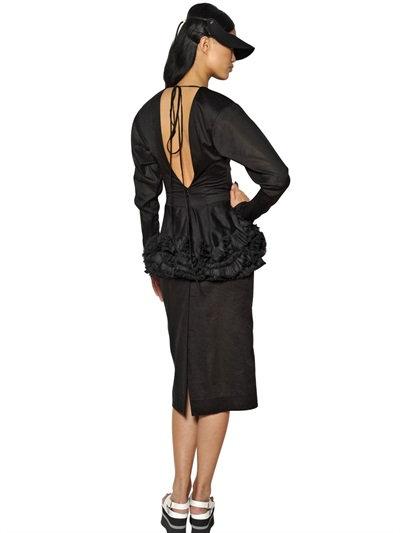 Marni Ruffled Cotton Muslin Dress In Black