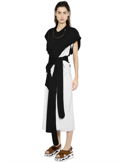Marni Asymmetrical Two Tone Silk Tussah Dress In Black/Ecru