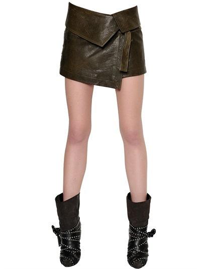 Isabel Marant Nappa Leather Mini Skirt In Bronze