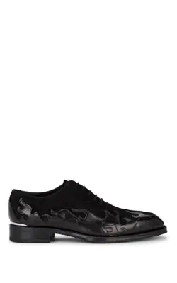 Alexander Mcqueen Flame Patchwork Leather And Suede Oxfords In Black