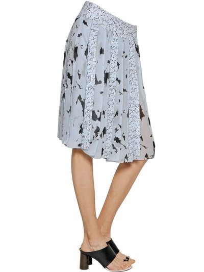 Proenza Schouler Printed Pleated Silk Chiffon Skirt In Lilac/Black