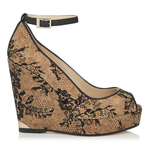 b02fa40796 Jimmy Choo Pacific 120 Black Lace Covered Cork Wedges In Natural/Black