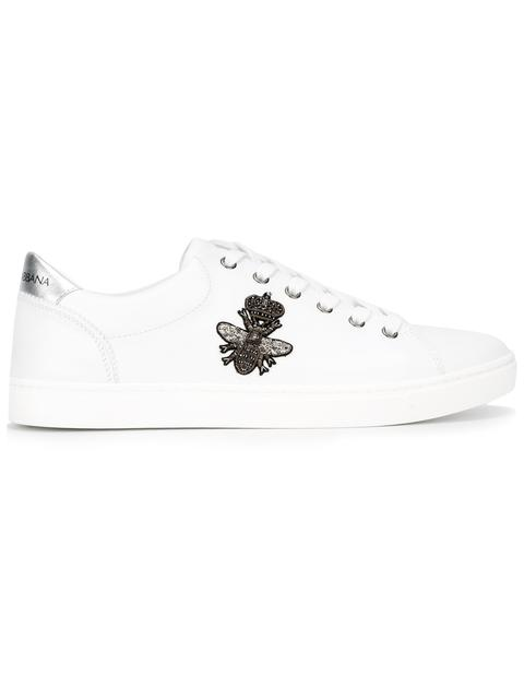 Dolce & Gabbana Crown And Bee-embroidered Low-top Leather Trainers In White