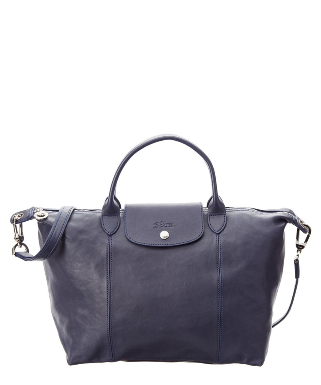 Longchamp 'le Pliage Cuir' Leather Handbag - Blue In Navy