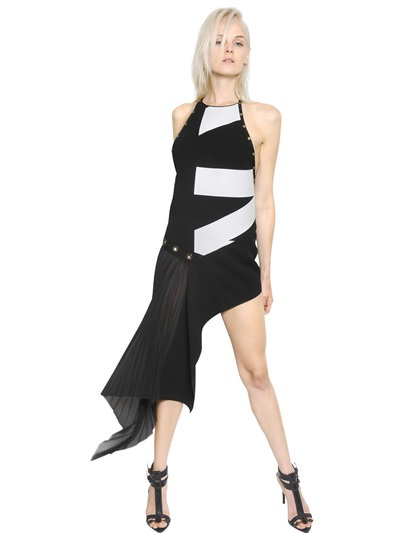 Anthony Vaccarello Asymmetrical Printed Double Crepe Dress In Black/White