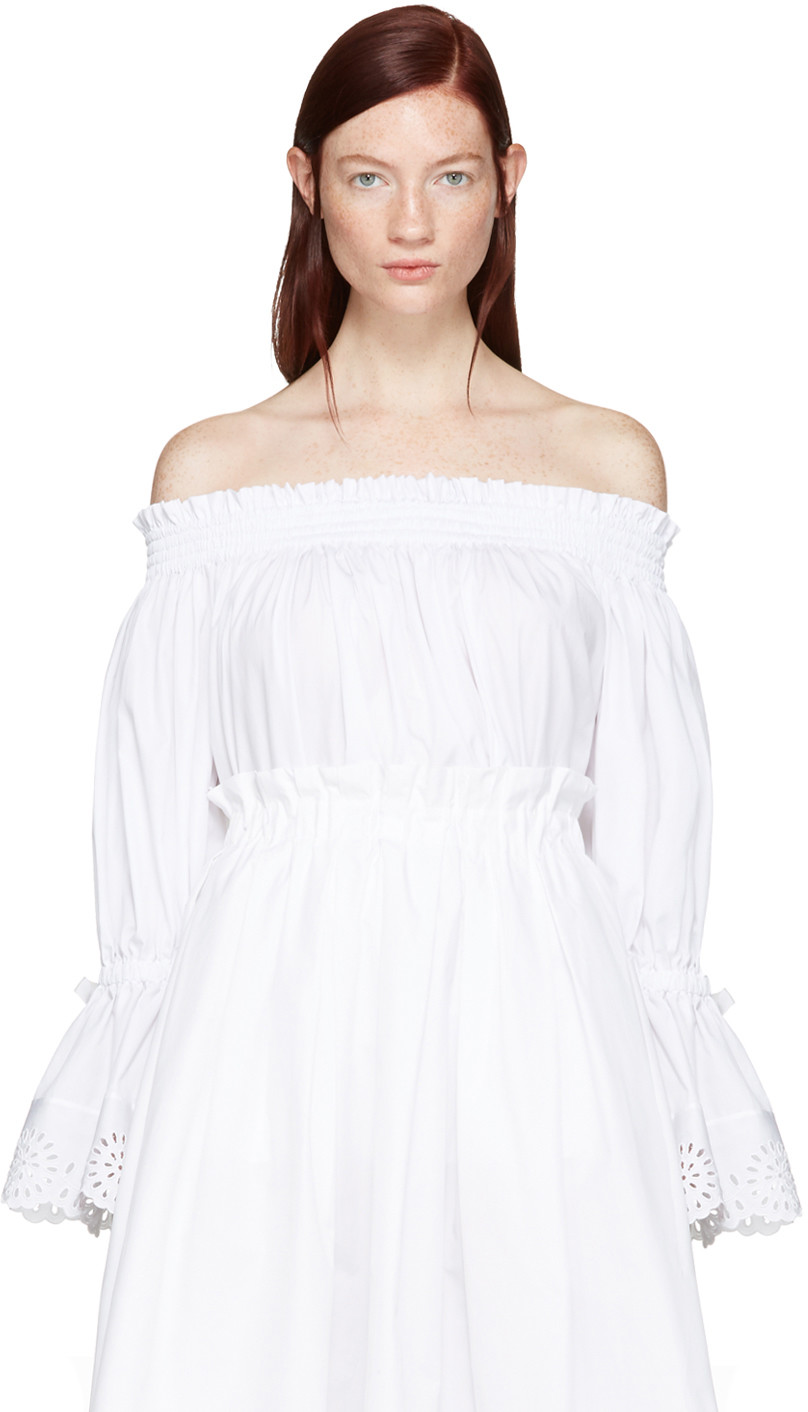 Alexander Mcqueen White Embroidered Off-the-shoulder Blouse