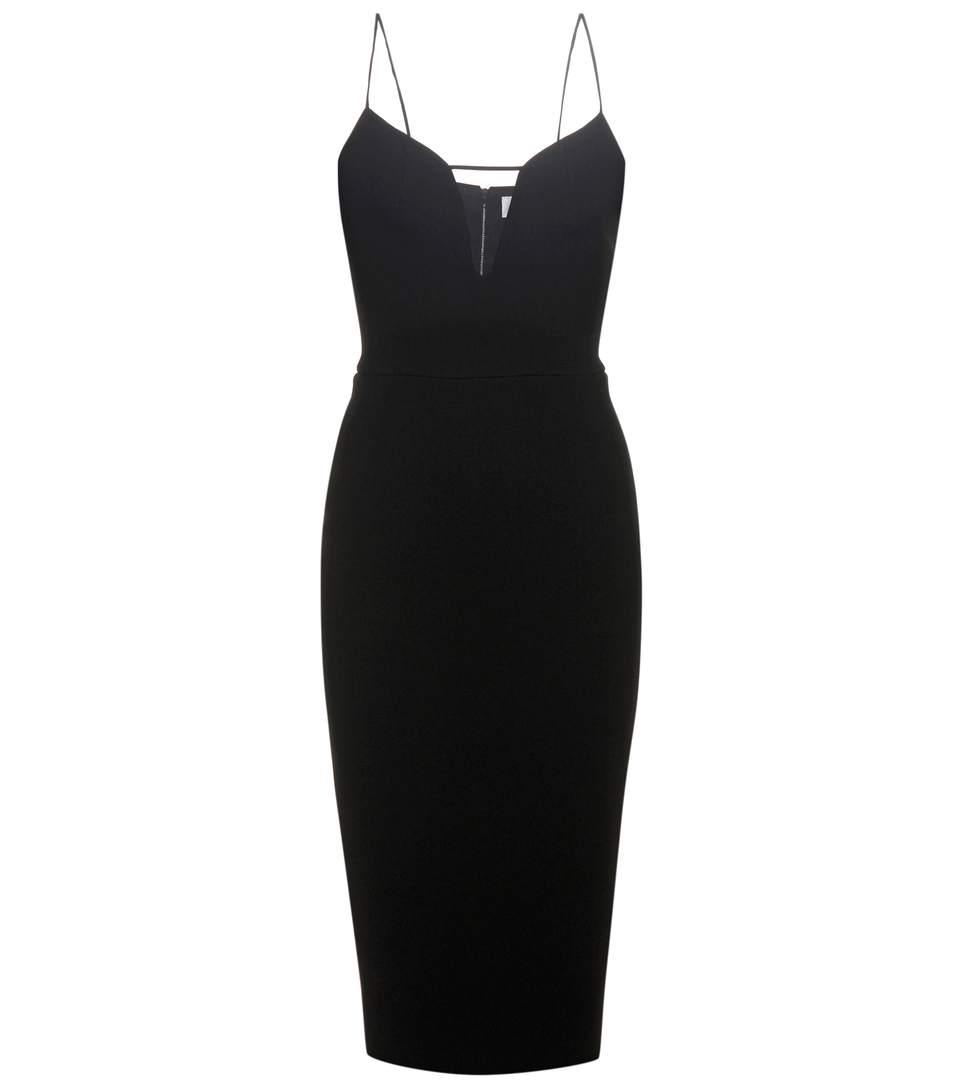 Victoria Beckham Mesh Insert Fitted Dress In Black