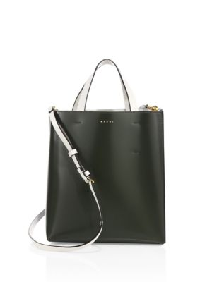 Marni Two-tone Leather Shopping Bag In Dark Olive