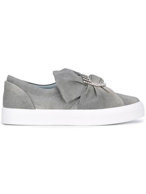 Chiara Ferragni Front Bow Slip-on Sneakers In Grey