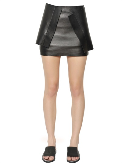 J.W.Anderson Nappa Leather Layered Panel Mini Skirt In Black
