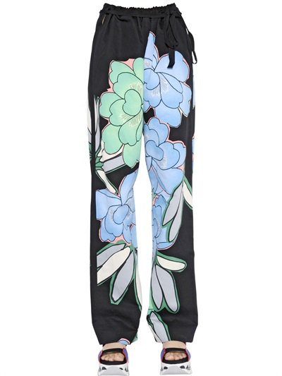 Marni Floral Printed Cotton Drill Pants In Blue/Green