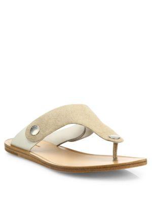 Rag & Bone Luna Suede & Leather Thong Sandals In Stucco Suede