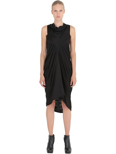 Rick Owens Gathered Wool Jersey Long Dress In Black