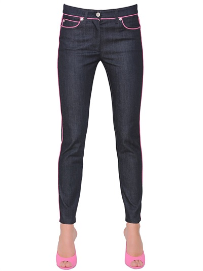 Moschino Skinny Denim Jeans With Pink Piping, Blue In Dark Denim