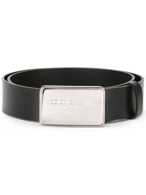 Dolce & Gabbana Logo Plaque Belt In Black