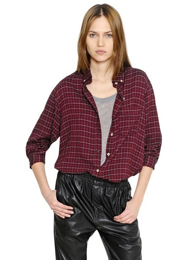 Isabel Marant Checked Light Wool Blend Flannel Shirt In Bordeaux