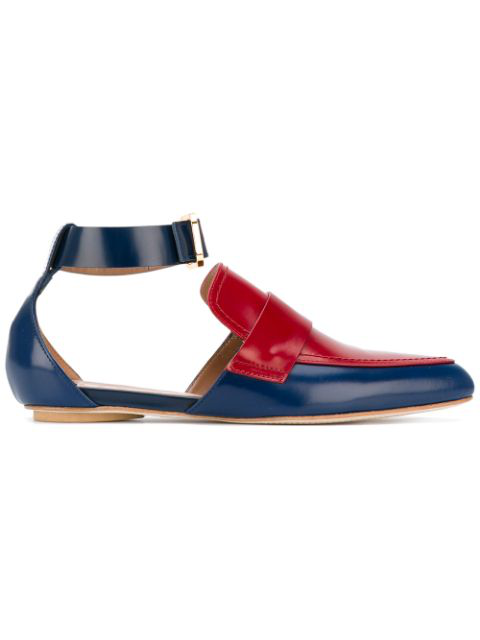 Marni Cut-out Two-tone Leather Loafers In Blue