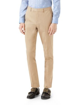Gucci Bee Web Stretch Gabardine Pants In Ivory Khaki