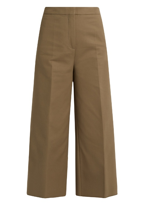 Rochas Wide-leg Stretch-cotton Cropped Trousers In Grey