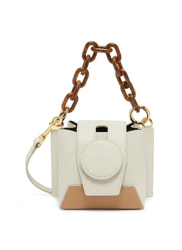 Yuzefi 'Daria' Colourblock Leather Bucket Bag In Cream/Capuccino