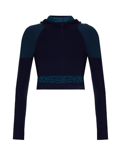 Laain Emma Hooded Cropped Performance Top In Navy Multi