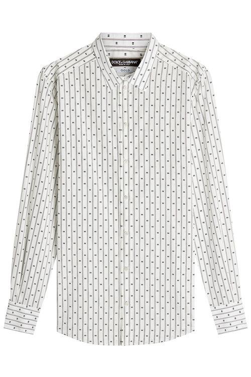 Dolce & Gabbana Printed Cotton Shirt In Stripes